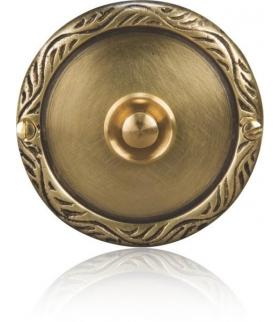 Przycisk dzwonkowy mosiężny z szyldem okrągłym PDM-231