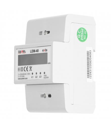 Licznik energii elektrycznej 3-fazowy LCD 100 A, 4-MOD LEM-40 ZAMEL